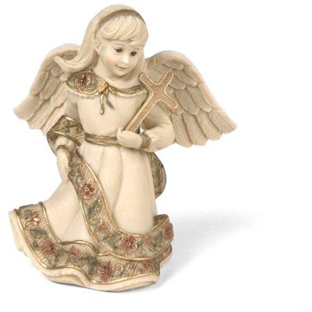 "Pavilion-  Little Girl Angel Figurine Holding Cross 4"""