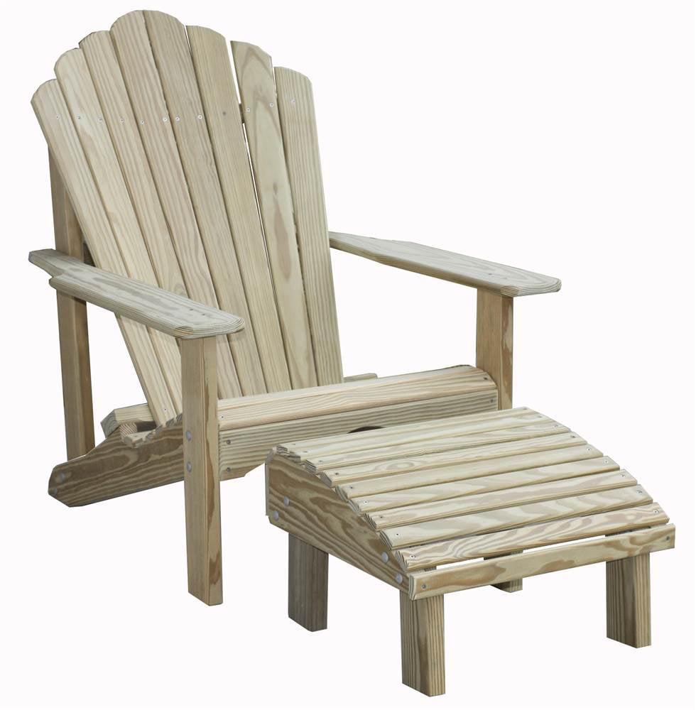 Adirondack Chair & Ottoman Set in Pine by Goshen Lawn Furniture LLC