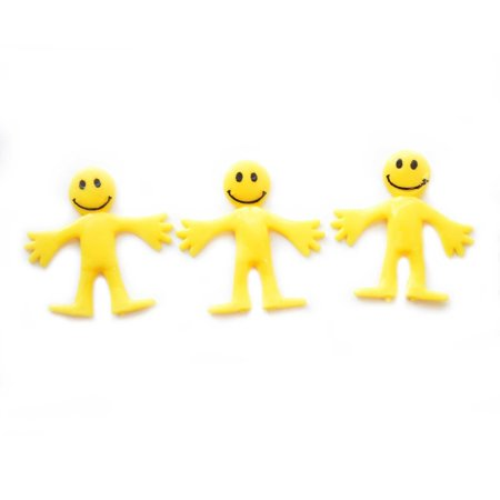 10 Pcs KIDS CHILDRENS YELLOW SMILEY STRETCHY MEN PARTY BAG LOOT TOYS FILLER - Kids Party Bags Online