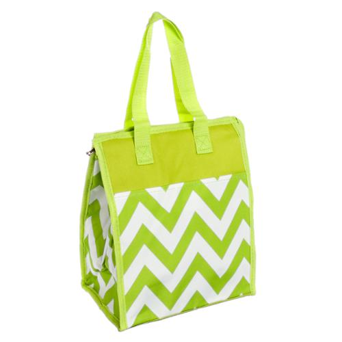 Womens Lime Green & White Chevron Nylon Insulated Lunch Tote Bag Handbag Purse