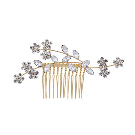 Lux Accessories GoldTone Crystal Rhinestone Bridal Floral Flower Vine Hair Comb