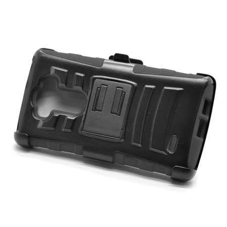Insten Hard Dual Layer Plastic Silicone Stand Case with Holster For LG G Flex 2 - Black - image 3 de 3