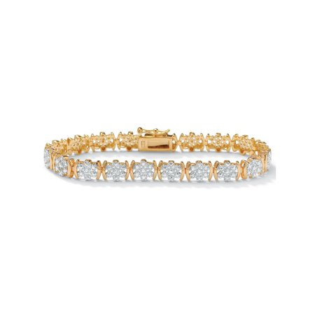 1/4 TCW Round Diamond Flower Tennis Bracelet in 18k Gold over Sterling Silver (Plumeria Flower Diamond Bracelet)
