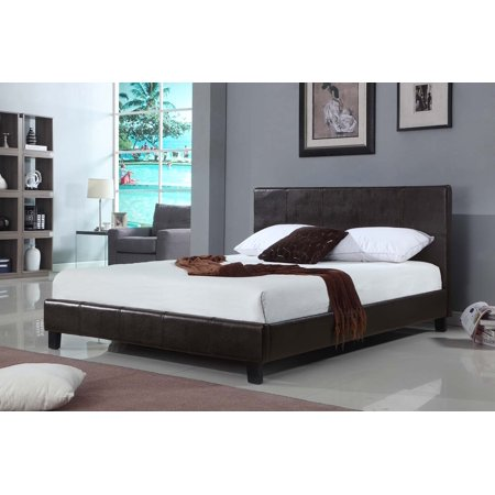 US Pride Furniture Raver Faux Leather Platform Bed, Chocolate, B8004-QB