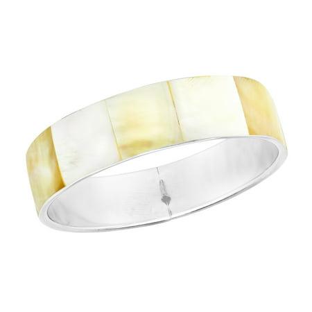 Stunning Iridescence Yellow & White Mother of Pearl Shell Bangle Bracelet
