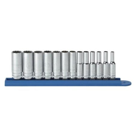 - 13 Piece 0.25 Inch Drive 12 Point Deep Metric Socket Set