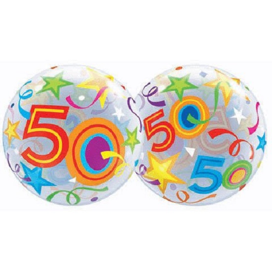 "22"" Bubbles 50 Brilliant Stars Birthday Stretchy Plastic Balloon Party"