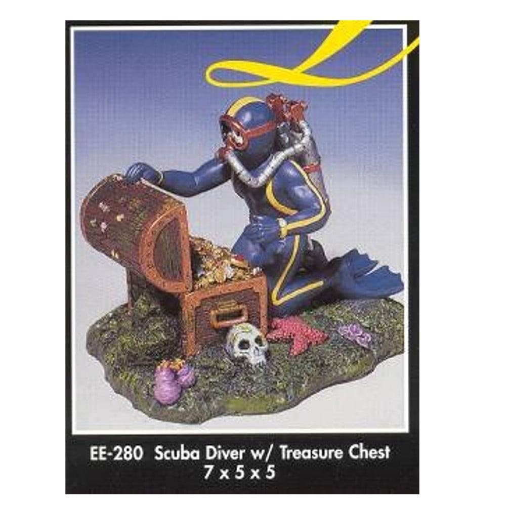 Blue Ribbon Scuba Diver with Treasure Chest Aquarium Orna...