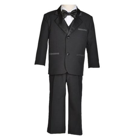 Ekidsbridal Boy Teen Black Shiny Suit Tuxedo Recital Easter Holiday Spring Summer Seasonal Communion Receptions Ceremony Birthday Baptism Special Occasions