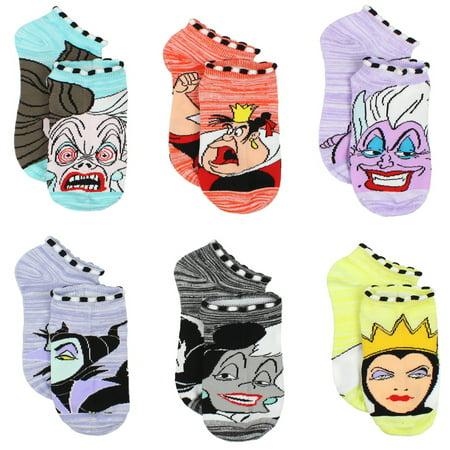 Disney Villains Girls Teen Womens 6-pack Socks DV007GNS](Girl Villains)