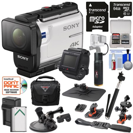 Sony Action Cam Fdr X3000r Wi Fi Gps 4K Hd Video Camera Camcorder   Remote   Action Mounts   64Gb Card   Battery Charger   Case   Power Grip   Selfie Stick Kit