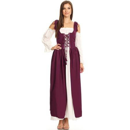 Irish Exit Halloween (Anna-Kaci 2PCS Womens Renaissance Overdress Medieval Irish Off Shoulder Dress Set Halloween)