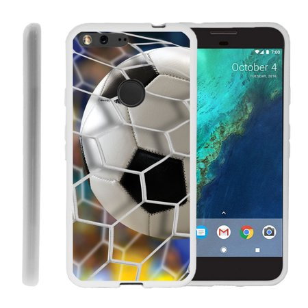 Google Pixel Xl Flex Force Flexible Slim Durable Bumper Case With Unique Designs   Soccer Goal