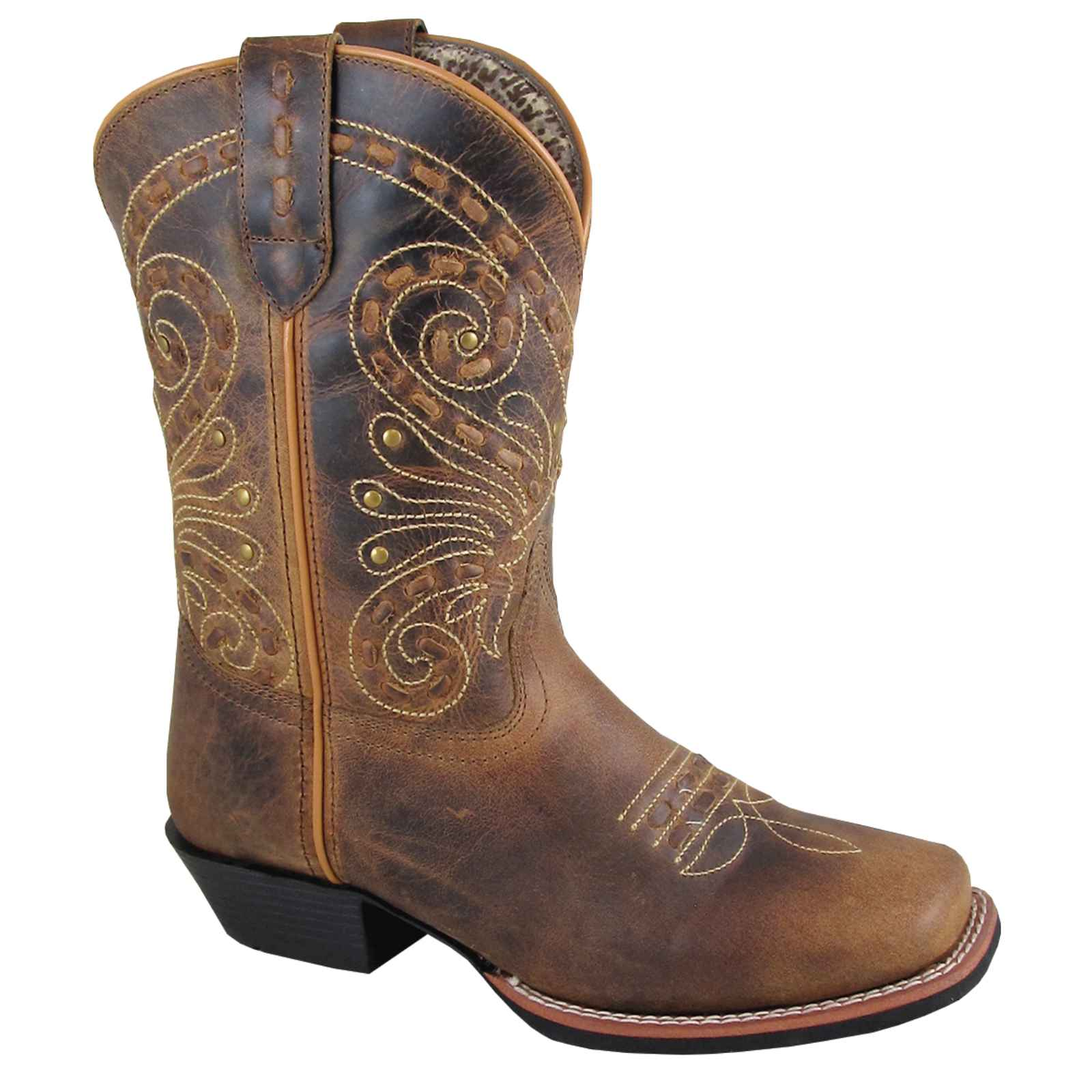 "Smoky Mountain Women's 9"" Brown Waxed Distress Leather Western Boots 6063"