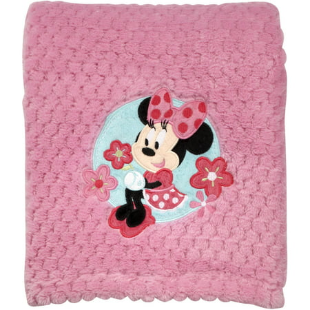 Disney Minnie Mouse Plush Popcorn Applique Blanket