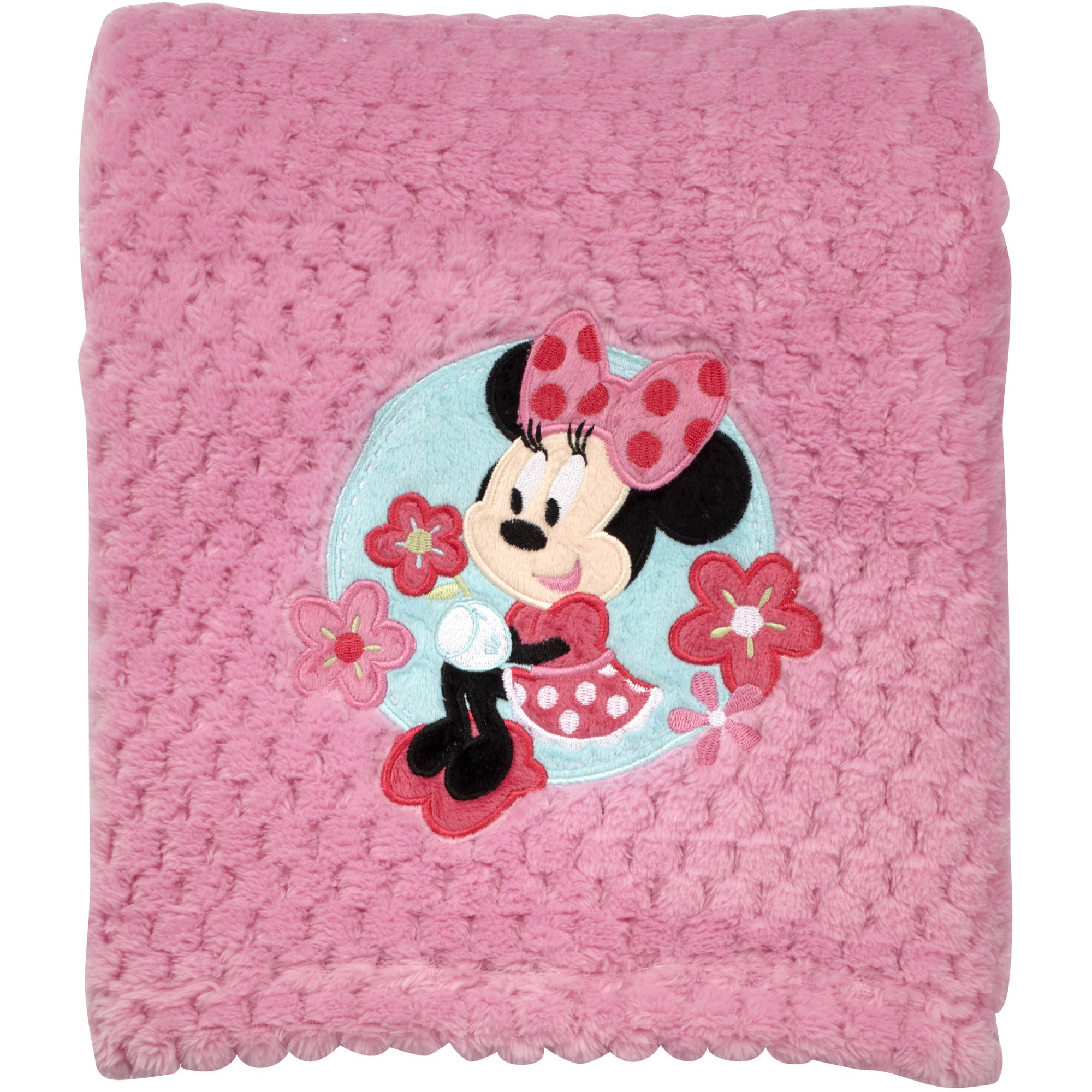 Disney Minnie Mouse Plush Popcorn Applique Blanket