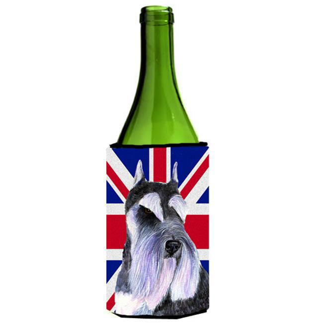 Carolines Treasures SS4919LITERK Schnauzer With English Union Jack British Flag Wine bottle sleeve Hugger - 24 Oz. - image 1 of 1