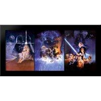 Star Wars Trilogy 40x20 Large Black Wood Framed Print Movie Poster Art