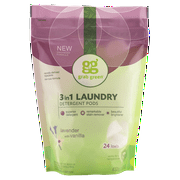 Grab Green Natural 3 in 1 Laundry Detergent Detergent Pre-Measured Powder Pods, Lavender with Vanilla, 24 Loads