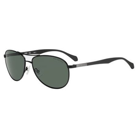 BOSS by Hugo Boss Men's B0824s Aviator Sunglasses, Matte Black/Green Polarized, 60 mm
