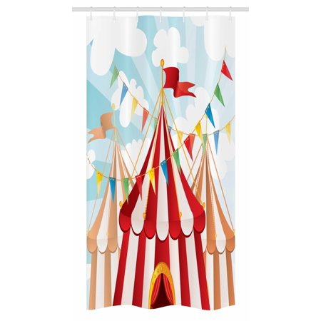 Circus Stall Shower Curtain Stripes Sunshines Through Cloudy Sky Traditional Performing Arts Theme