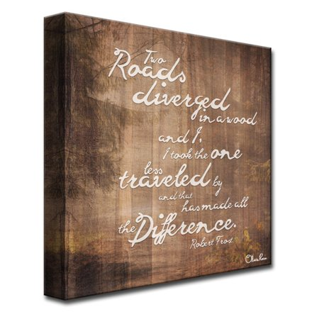 Ready2HangArt Robert Frost - Road Traveled Canvas Wall Art