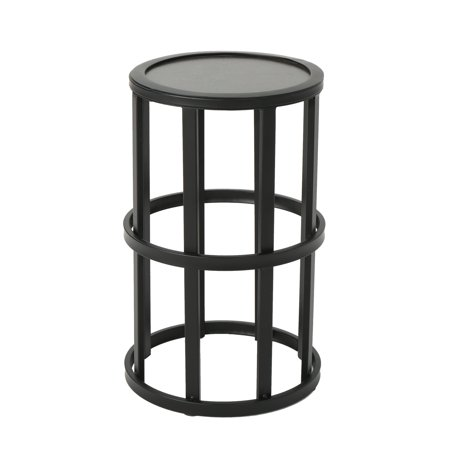Cie Indoor 11 Inch Ceramic Tile Side Table Grey Finish