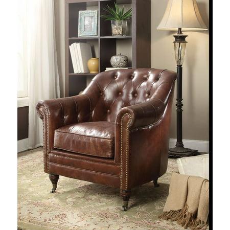 Comfy Chair, Vintage Dark Brown Top Grain Leather