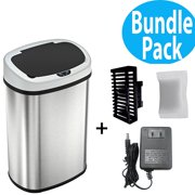 SensorCan Automatic Touchless Sensor Kitchen Trash Can with AC Adapter and Odor Filter Kit - Stainless Steel ? 13 Gallon / 49 Liter ? Oval Shape