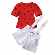 Toddler Kids Baby Girl Valentine's Day Love Heart Clothes Tops+Pants Overall 2PCS Outfit Summer Short Sleeve Cute Clothing