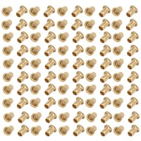 100pcs M4 x 6mm Brass Plated Metal Hollow Eyelets Rivets Gold Tone