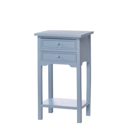 Side Tables Bedroom, Blue Cedar And Mdf Wood Small Side Tables For Living Room