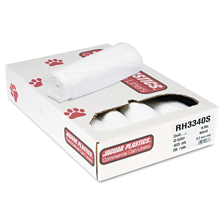 Jaguar Plastics Super Extra-Heavy Bags, 33gal, 16mic, 33 x 40, Natural, 25 Bags/RL, 10 Rolls/CT