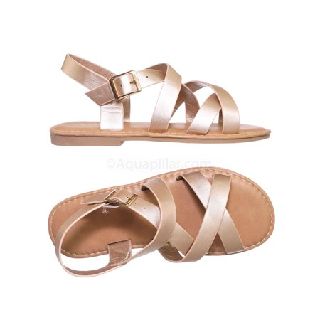 Fifi1K by Wild Diva, Children Gladiator Cross Strap Sandal - Girl Kids Flat Shoes - Girls Size 13 Sandals