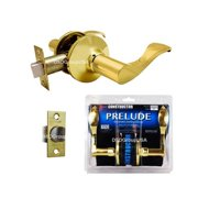 Constructor PRELUDE Passage Door Lever Handle Lock Set for Hallway and Closet Polished Brass Finish