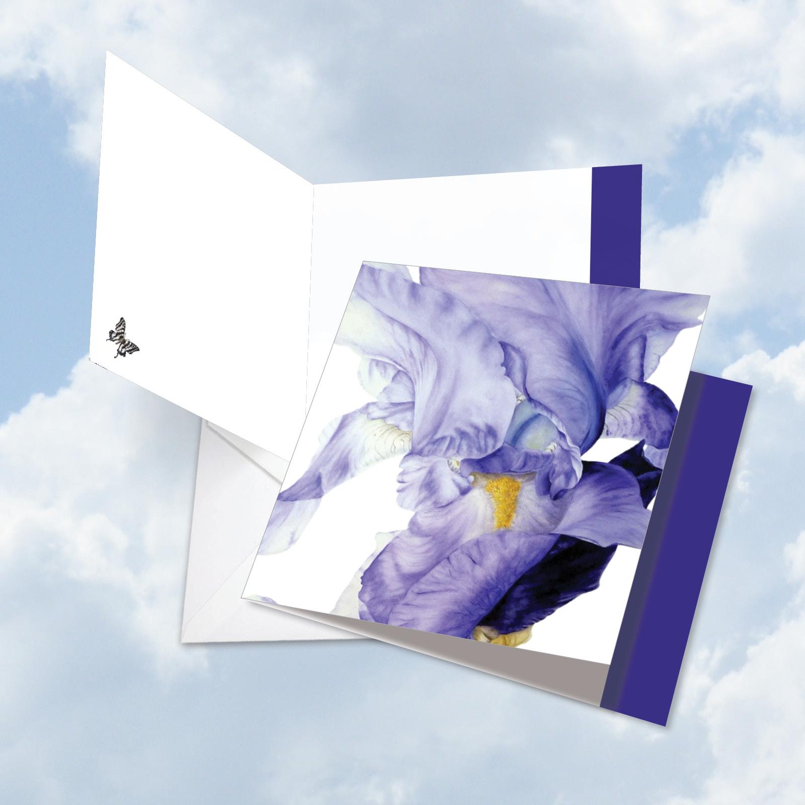 JQ4949DTTG Jumbo  Teacher Thank You Card: 'Iridescent Iris' with Envelope (Large Size: 8.5+ x 11+)