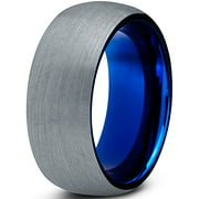 Tungsten Wedding Band Ring 8mm For Men Women Comfort Fit Blue Round Domed Brushed Lifetime Guarantee