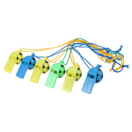 Training Kids Football (6 x Coach Training Multicolor Football Designed Whistles w Nylon Strap )
