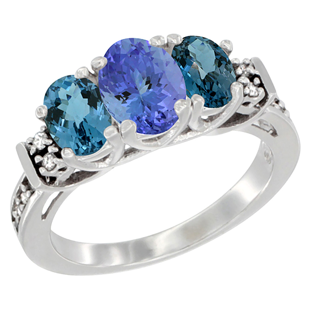 14K White Gold Natural Tanzanite & London Blue Ring 3-Stone Oval Diamond Accent, sizes 5-10 by Tanzanite Rings