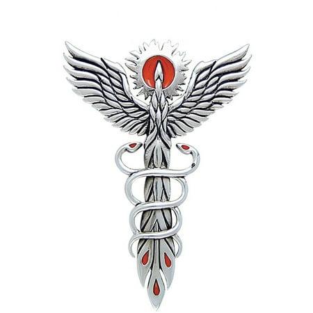 Fire Dance Phoenix Sterling Silver Medical Caduceus Symbol Pendant Necklace