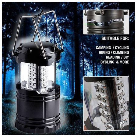 Ultra Bright LED Collapses Outdoor Folding Lantern for Camping Emergencies Water Resistant Black