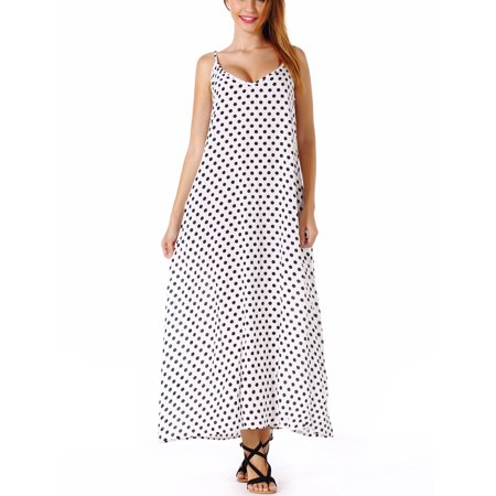 d84460da8635 SAYFUT - SAYFUT Plus Size Women s Sundresses Spaghetti Strap Polka Dot Dress  Sleeveless V-Neckline Backless Beach Swimwear Long Dresses - Walmart.com