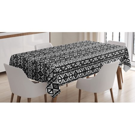 Retro Tablecloth, Ethnic Boho Aztec Pattern in Black and White with Western Navajo Effects Folk Design, Rectangular Table Cover for Dining Room Kitchen, 52 X 70 Inches, Grey Black, by - Black And White Tablecloth