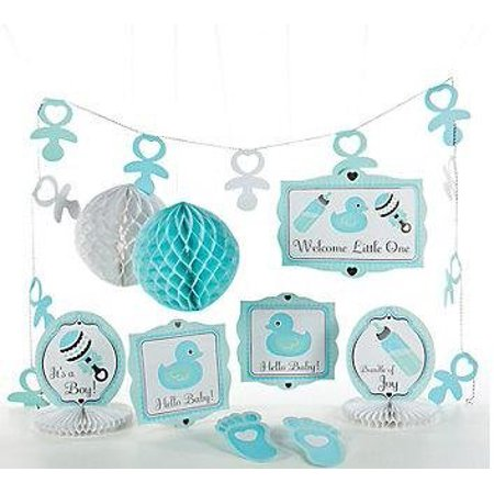 10 pc Baby Boy Blue Shower Party Decorating Kit by