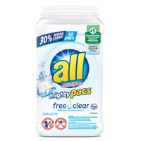 all Mighty Pacs Laundry Detergent Free Clear for Sensitive Skin, 88 Count