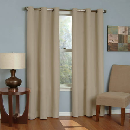 Eclipse Microfiber Energy-Efficient Grommet Blackout Curtain Panel Black Double Gang Grommet