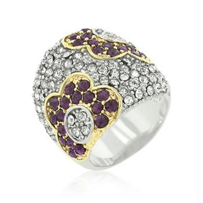 Purple and Clear CZ Rose Ring, <b>Size :</b> 05
