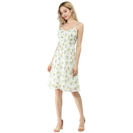 Women's Spaghetti Strap Summer Midi Floral Print Dress White M (US 10) - image 1 de 6