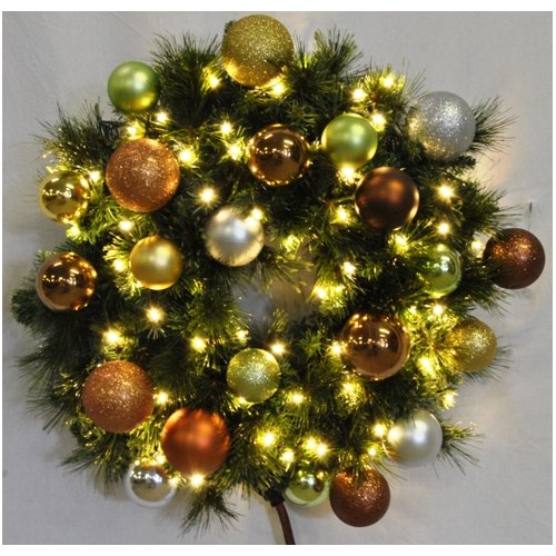 Queens of Christmas Pre-Lit Sequoia Wreath Decorated with Woodland Ornament