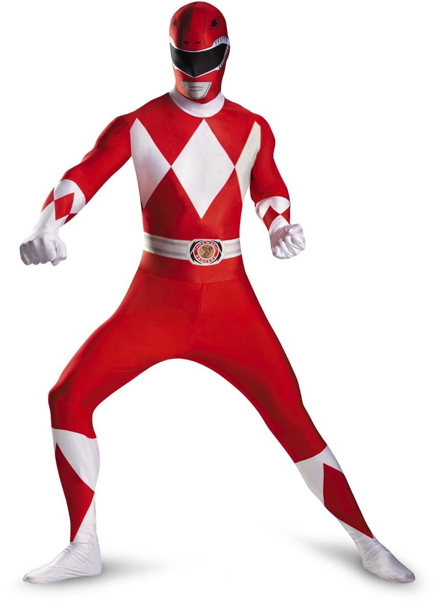 Disney Power Rangers Red Ranger Mens Adults Bodysuit Costume
